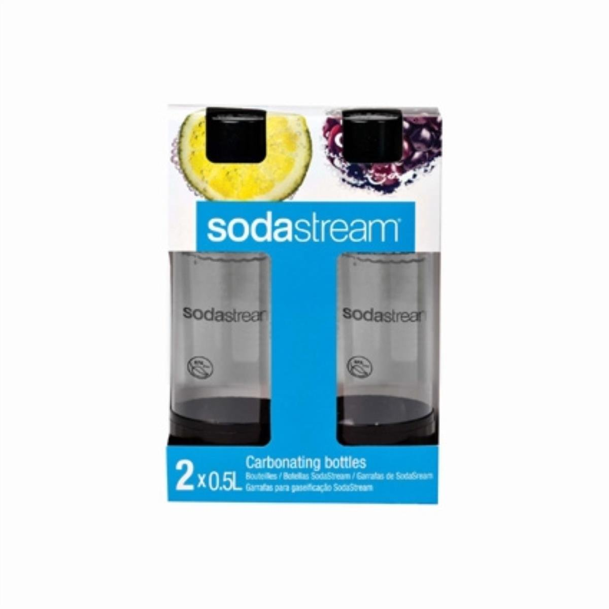 SodaStream 1/2-Liter Carbonating Bottle, Black, 2-Pack