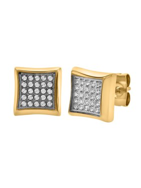 Men's Two-Tone Yellow IP CZ Stainless Steel Stud Earrings