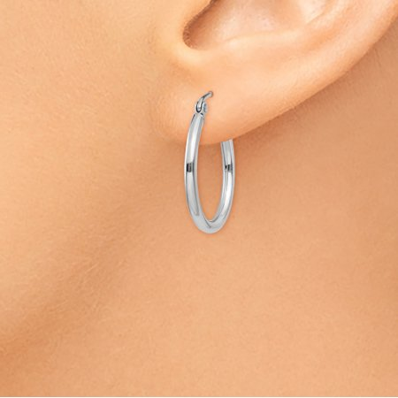 14K White Gold Lightweight Hoop Earrings - image 2 de 4