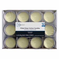 Mainstays Filled Glass Votive Unscented Candles Ivory, 12 pack
