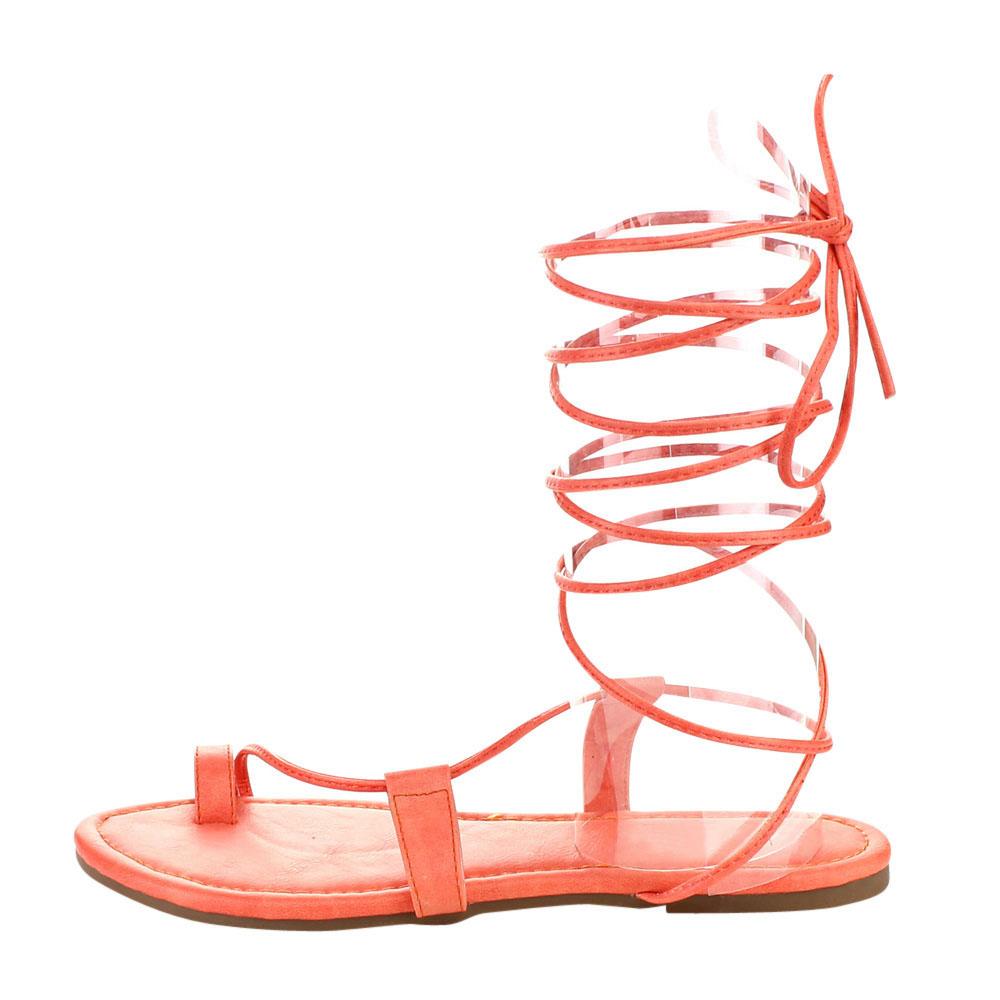 2aaf65ec013 Fashion Focus EA87 Women Under Knee High Leg Wrap Gladiator Lace Up Flat  Sandal - Walmart.com