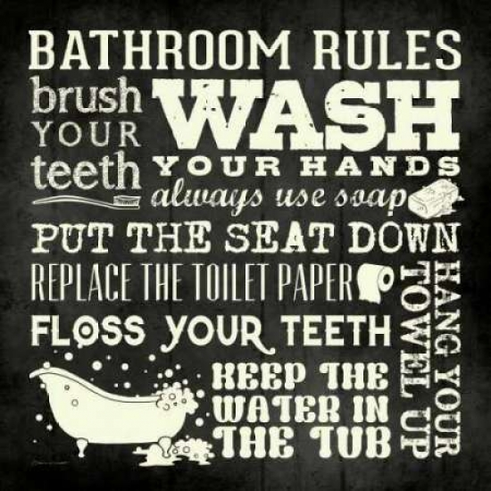 Bath Rules - Black Poster Print by Stephanie Marrott