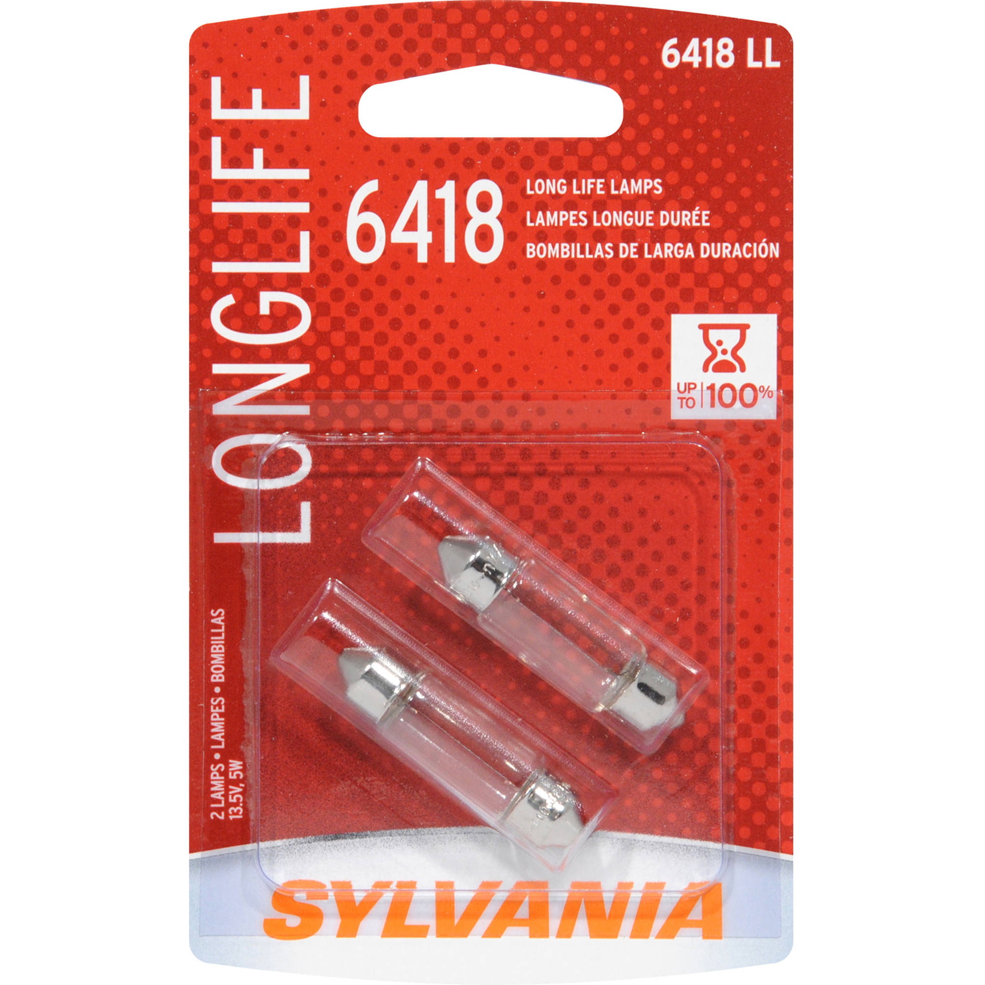 Sylvania 6418 Long-Life Miniature Bulb, Twin Pack