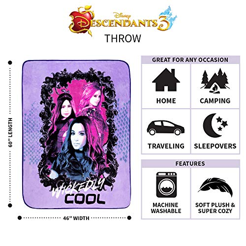 46 x 60 Franco Kids Bedding Super Soft Plush Throw Disney Descendants 3