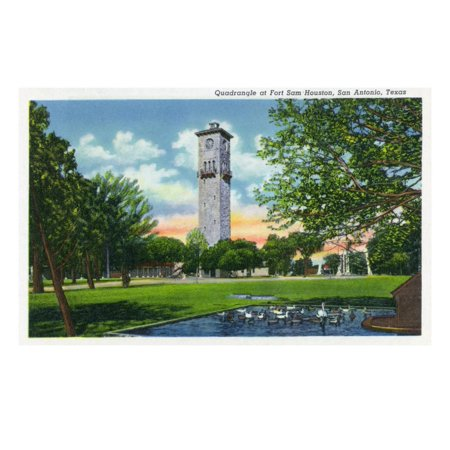 San Antonio, Tx - Exterior View of the Clock Tower from the Fort Sam Houston Quadrangle, c.1944 Print Wall Art By Lantern