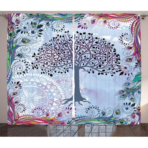 Latitude Run Cowans Nature Cute Tree of Life Motif with Peacock Feathers Tribal Vintage Primitive Nature Illustration Graphic Print & Text Semi-Sheer Rod Pocket Curtain Panels (Set of 2)