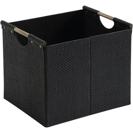 Better homes and gardens woven storage bin black durable construction for Better homes and gardens storage bins