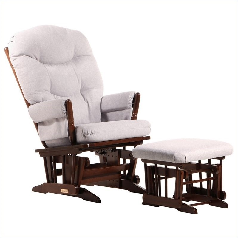 Dutailier 2 Post Glider and Ottoman Set in Coffee and Light Gray