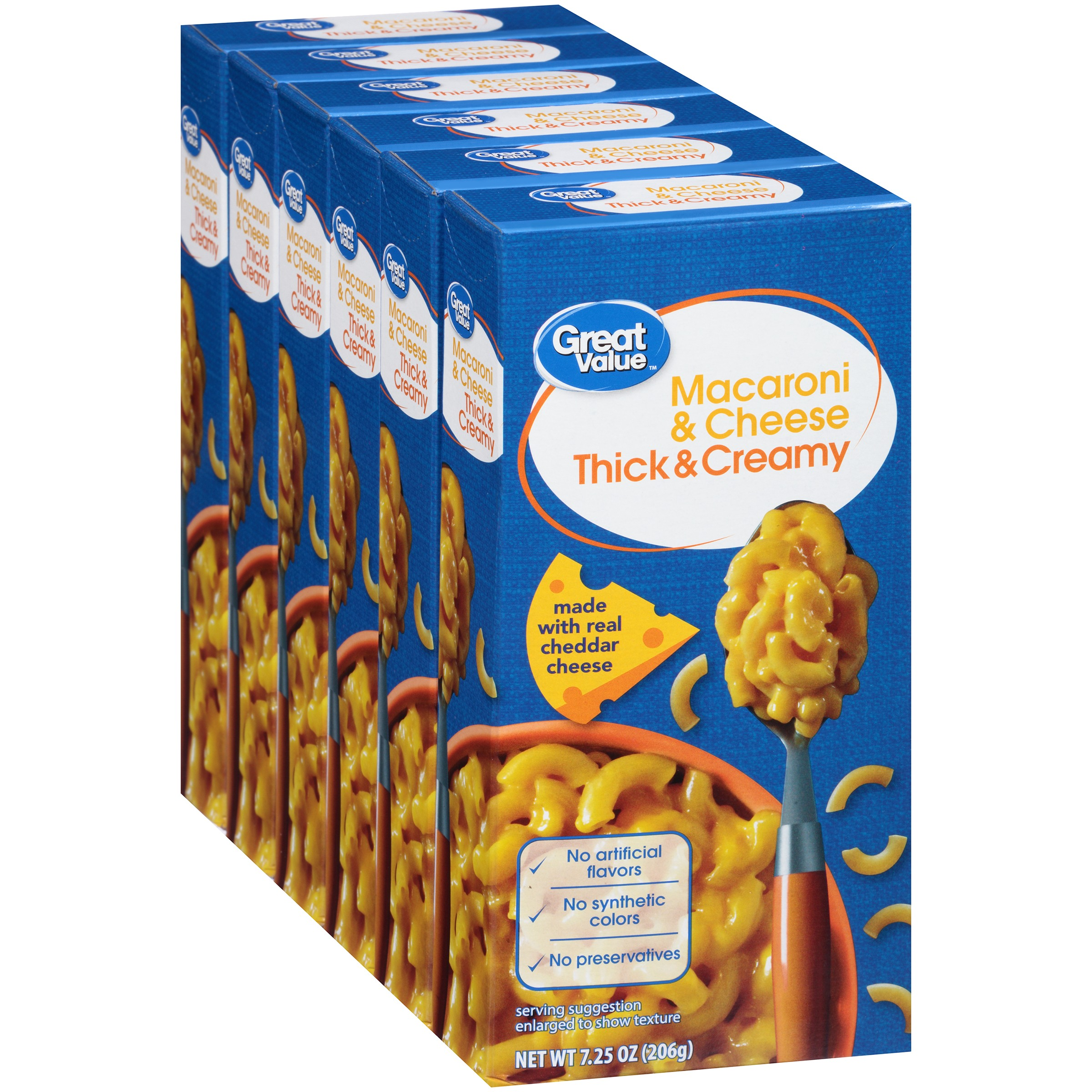 Great Value Macaroni & Cheese, Thick & Creamy, 6 Count