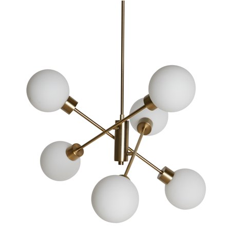 MoDRN Glam 6 Light Chandelier Antique Brass