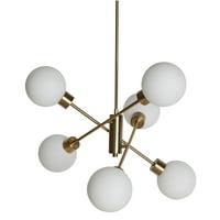 MoDRN Glam 6 Light Chandelier Antique Brass