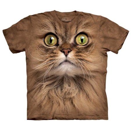 The Mountain Adult Orange 100% Cotton Big Face Brown Cat T-Shirt