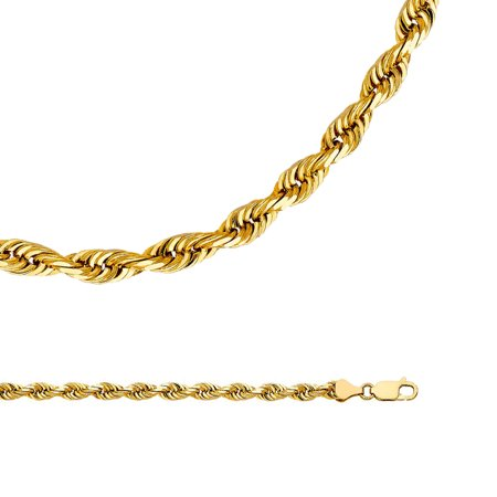 0d3893d2e6dbc Rope Chain Solid 14k Yellow Gold Necklace Twisted Mens Diamond Cut Polished  Big Heavy, 6 mm - 22,24,26 inch