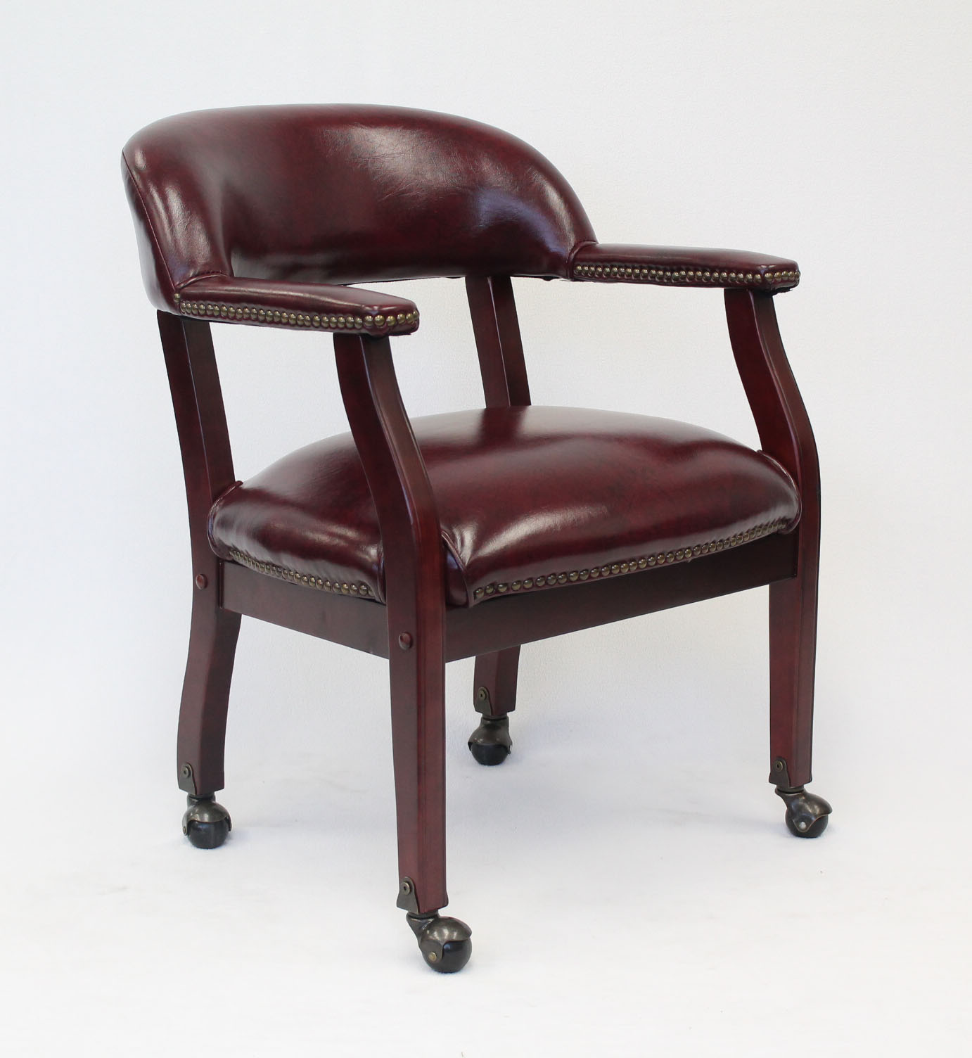 Boss Office & Home Traditional Burgundy Ivy League Executive Captains Chair with Casters