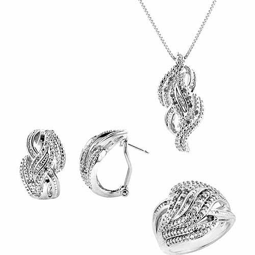 """1/4-Carat T.W. Round and Baguette White Diamond Rhodium-plated Ring, Earrings and Pendant Set, 18"""", Size 7"""