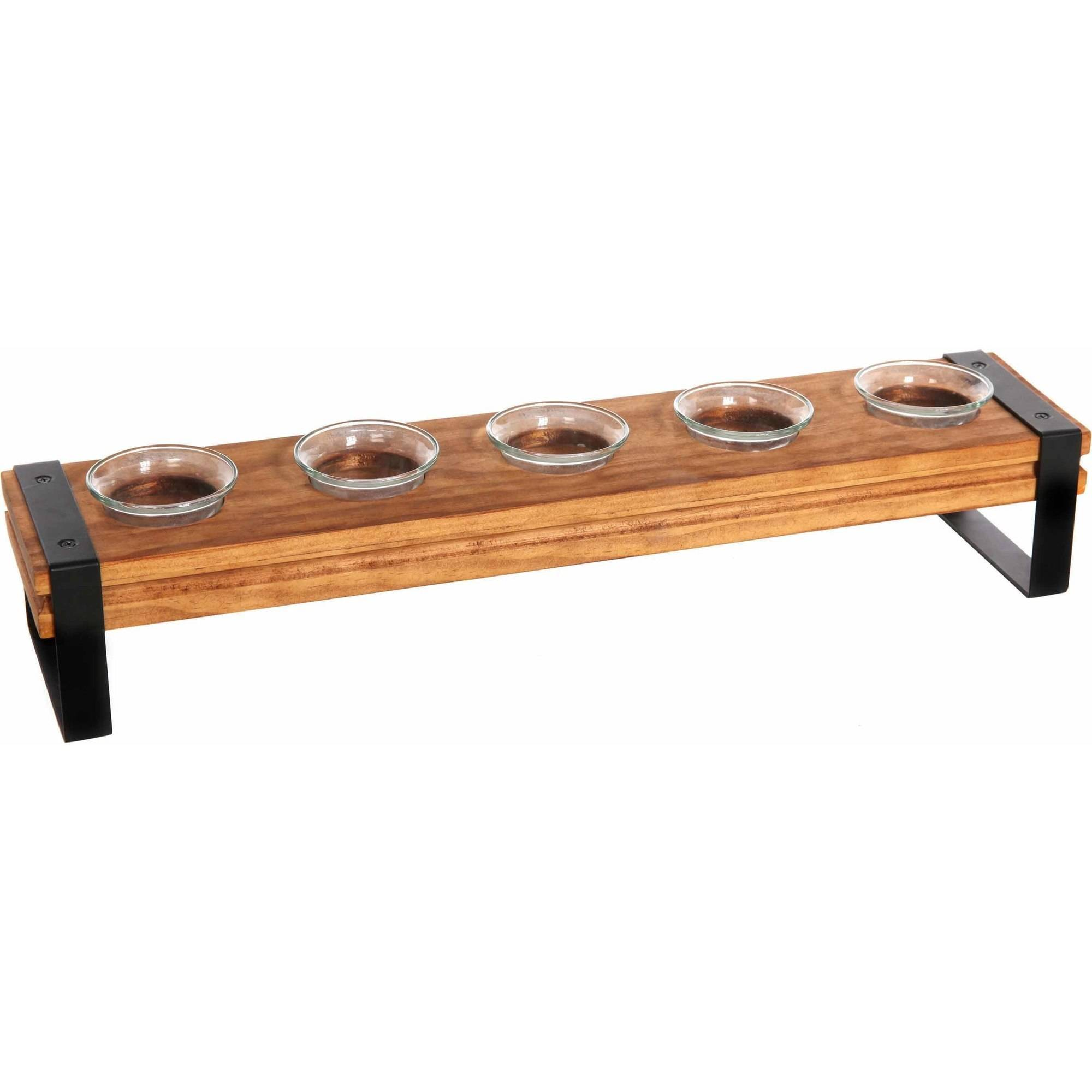 Mainstays Wood Rail 5 Piece Tea Light Candle Holder by HG Global, LLC