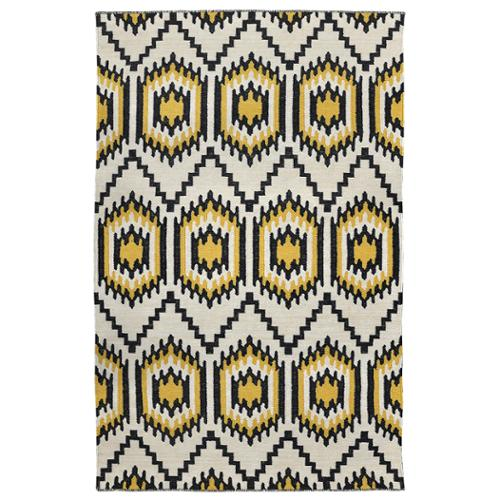 Kosas Home  Antonia Black and Gold Recycled Polypropylene Kilim Rug (2' x 3')