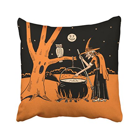 Haunted Forest Ideas For Halloween (WinHome Vintage Popular Happy Halloween Old Witch In Haunted Forest Black And Orange Polyester 18 x 18 Inch Square Throw Pillow Covers With Hidden Zipper Home Sofa Cushion Decorative)