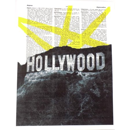 Hollywood Signs For Sale (Art N Wordz The Hollywood Sign In Lights Original Dictionary Sheet Pop Art Wall or Desk Art Print)