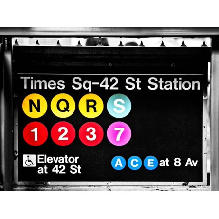 Subway Sign at Times Square, 42 St Station, Manhattan, New York, Special Print Wall Art By Philippe