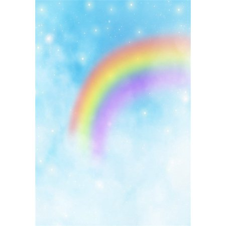 HelloDecor Polyster Backdrop 5x7ft Photography Background Romantic Rainbow Dreamy Stars Snowflakes Blurry Scene theme Child Adults Background Photo Studio Props