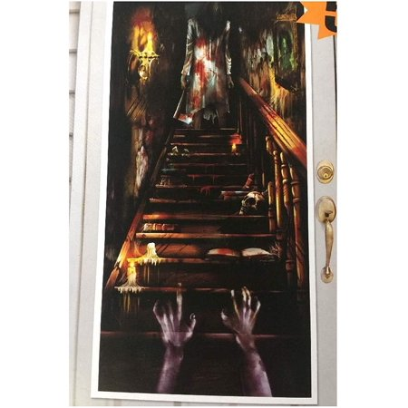 Haunted Mansion Halloween Party Ideas (HAUNTED MANSION DOOR COVER Halloween Party Decorations Scene Setter Stairs)