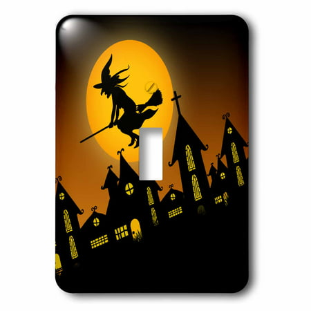 3dRose Spooky Halloween town with flying witch, 2 Plug Outlet Cover