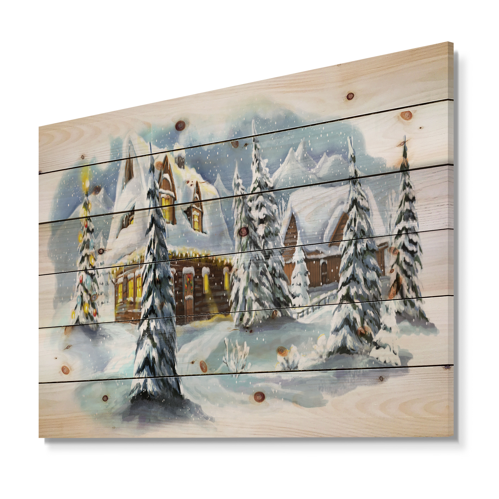 Design Art - Evening winter scene in Mountains with Christmas Tree - image 5 of 5