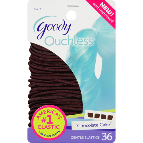 Goody Ouchless Gentle Hair Elastics, Chocolate Cake 15214, 36 count
