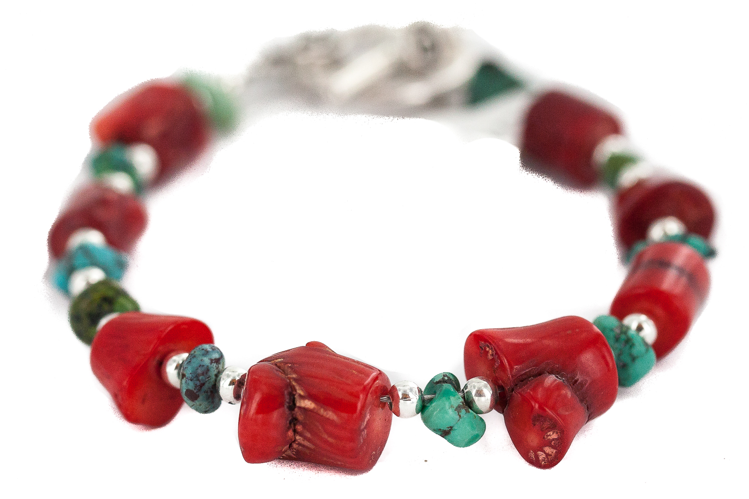 90 Retail Tag Navajo Nickel Made by Charlene Little Authentic Natural Turquoise Coral Native American Bracelet by