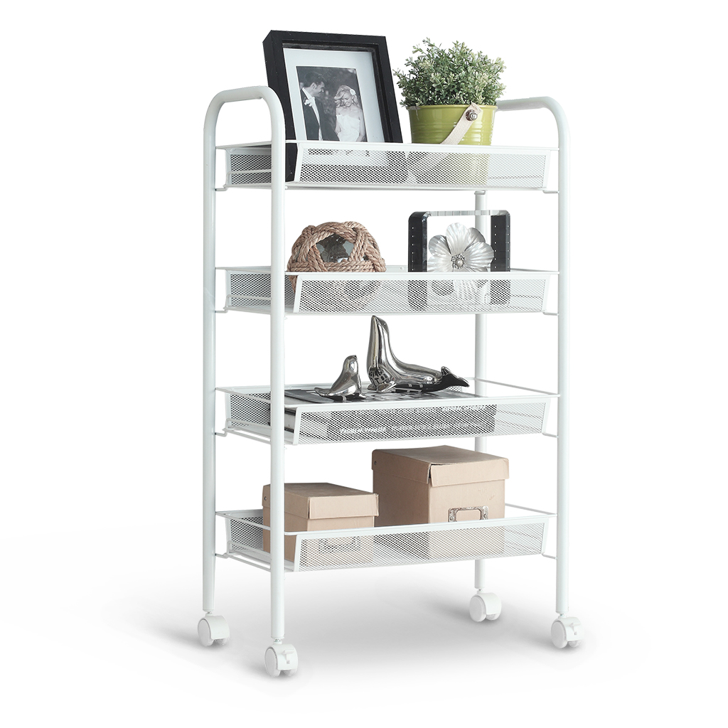 Exceptional LANGRIA 4 Tier Metal Mesh Rolling Cart Trolley For Kitchen Pantry Office  Bedroom Bathroom Washroom