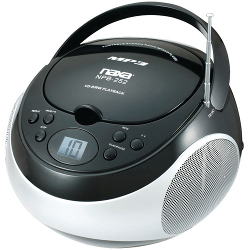 Naxa Portable CD/MP3 Player with AM/FM Stereo, Black, NPB252