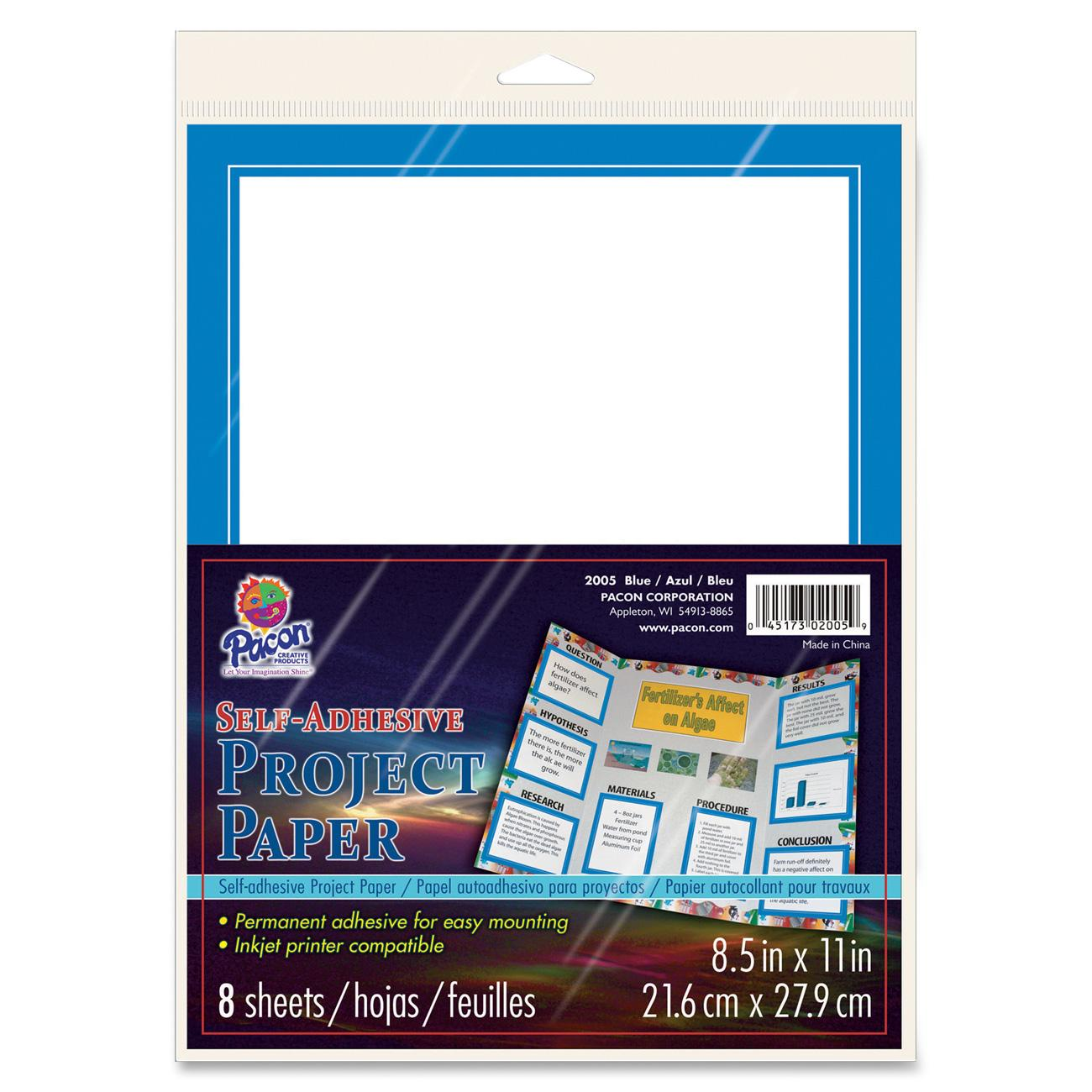 Pacon, PAC2005, Self-Adhesive Project Paper, 8 / Pack, Blue