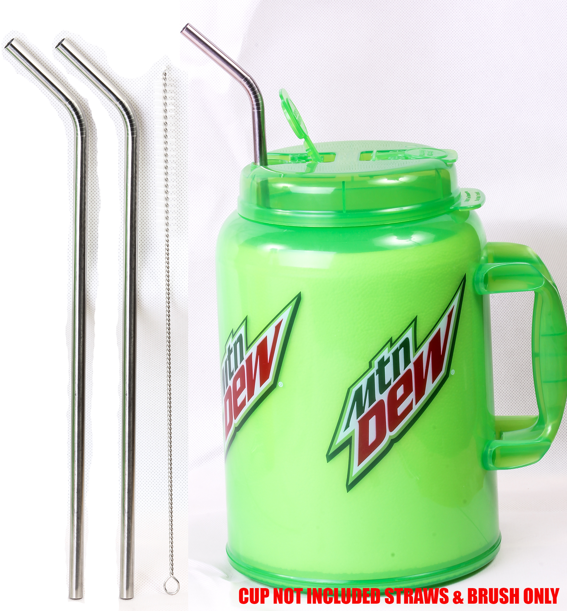 "2 JUMBO 14"" Stainless Steel 100 oz Straw HUGE SUPER LONG Drinking Wide For Insulated Whirley Travel Mug FOAM Truck Cup"