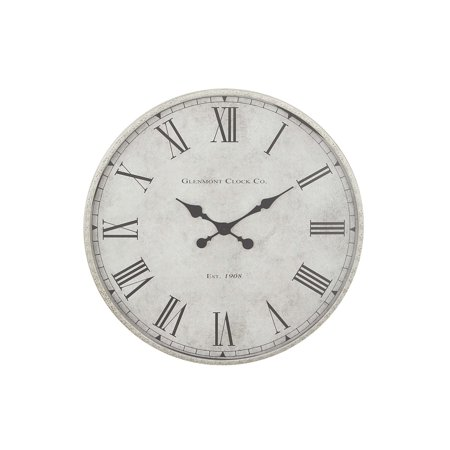 Decmode Contemporary Vintage Metal Round Analog Wall Clock