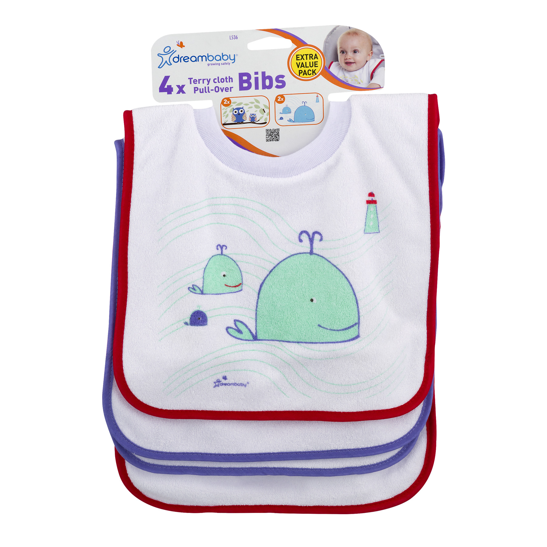 Dreambaby Terry Cloth Pull-Over Bibs Owl   Whale Print b611eda5c