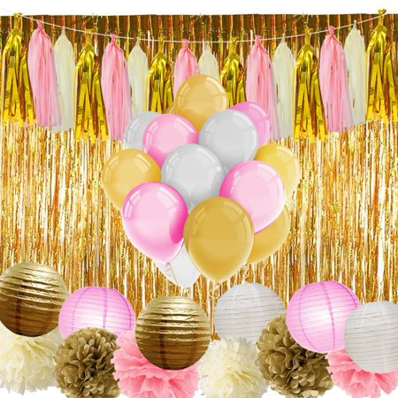 Paxcoo Pink and Gold Party Supplies with Balloons Tissue Flowers Paper Lanterns Tassel Garland Fringe Curtain for Baby Shower Girl Birthday Decorations NEW