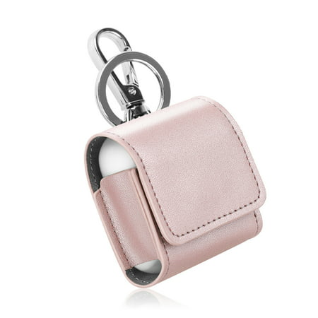 - Fintie AirPods PU Leather Case - Earbuds Cover Skin with Metal Clasp and Keychain, Rose Gold
