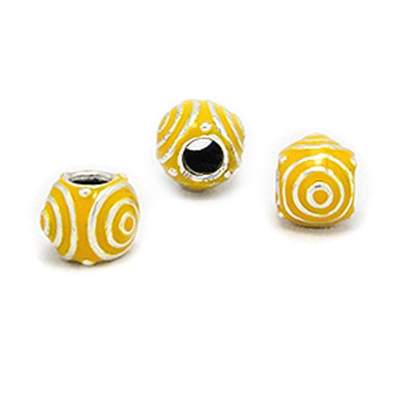 Beaded Circle Design (Cheneya Sterling Silver and Yellow Enamel Bead in a Circle Design - Compatible with Pandora, Chamilia, Troll )
