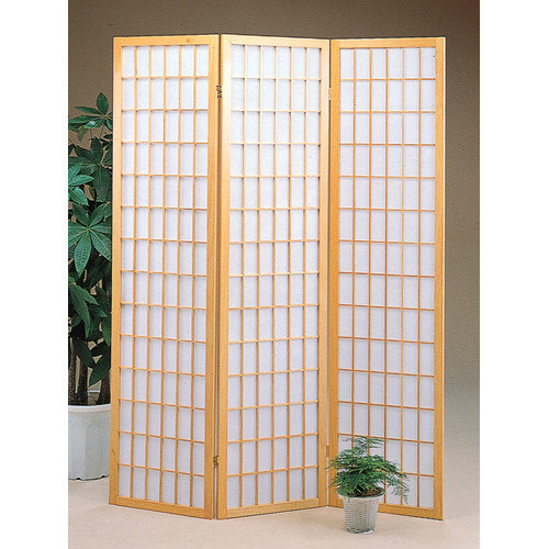 World Imports Furnishings Three Panel Screen in Natural