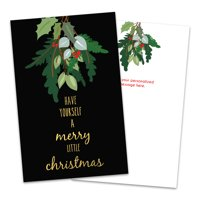 Personalized Hanging Mistletoe Folded Christmas Greeting Card