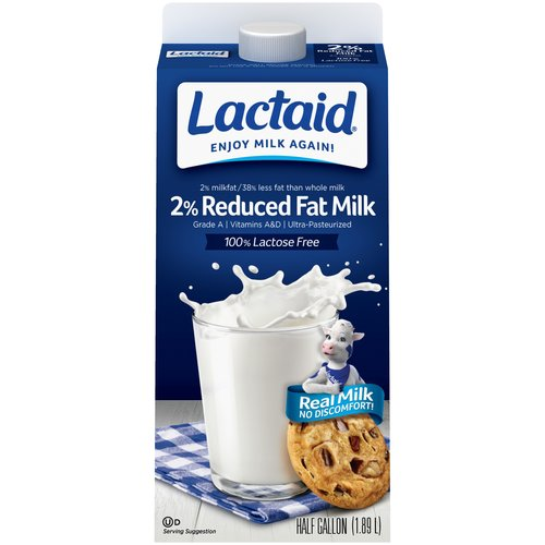 Lactaid 100% Lactose Free Reduced Fat Milk, 0.5  gal