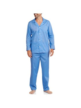 Fruit of the Loom Men's Long Sleeve, Long Pant Solid Pajama Set