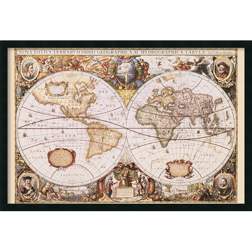 Amanti Art 'Map Of the World' by Henricus Hondius Framed Graphic Art
