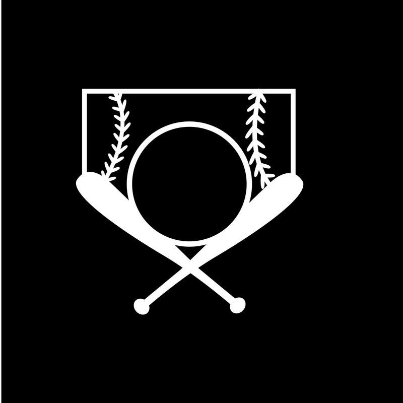 "Vinyl Decal Window Sticker Baseball and Crossbats 5/"" WHITE"