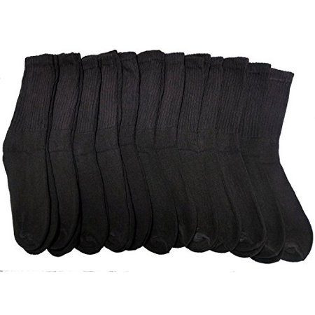 12 Pairs Of Excell Womens Cotton Crew Socks  Solid  Ladies Athletic