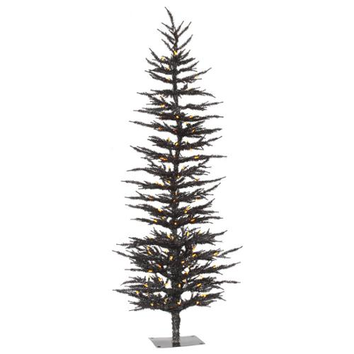 5' Pre-Lit Black Laser Artificial Christmas Tree- Orange LED Lights