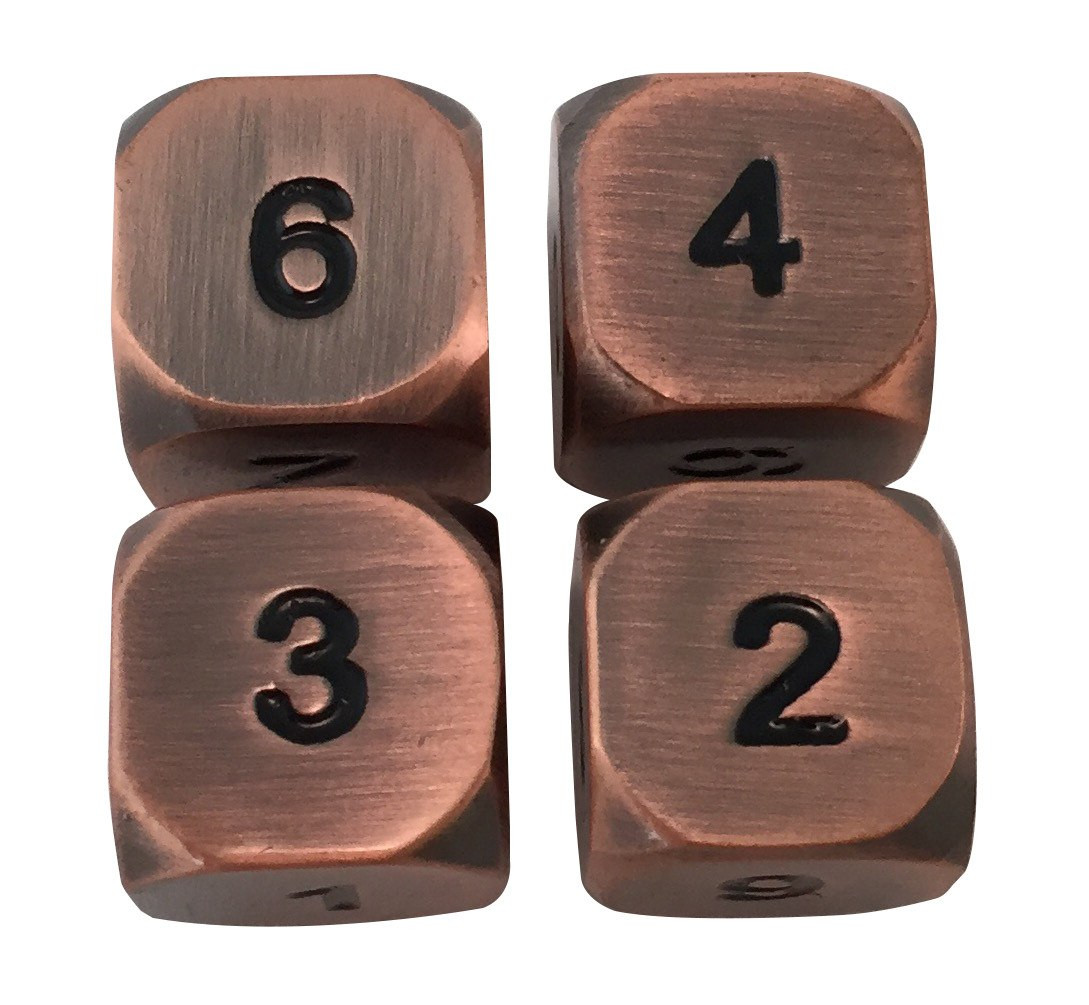 4 Pack of D6 - Antique Brass Metal Dice -