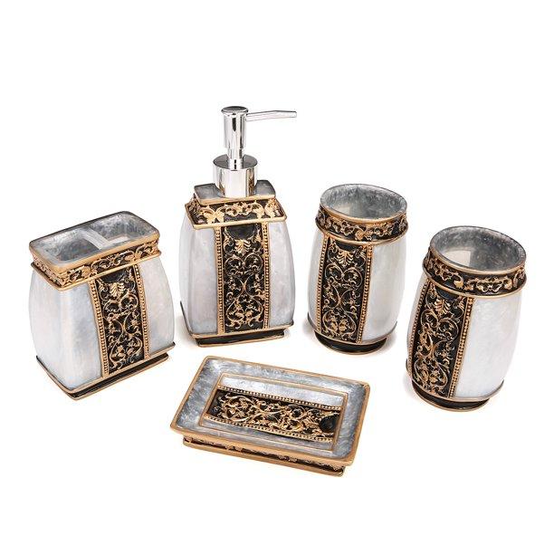 Vintage Golden Bathroom Accessories 5piece Bathroom Accessories Set Bathroom Set Features Soap Dispenser Toothbrush Holder Tumbler Soap Dish Golden Glossy Bath Gift Set Gold Resin Walmart Com Walmart Com
