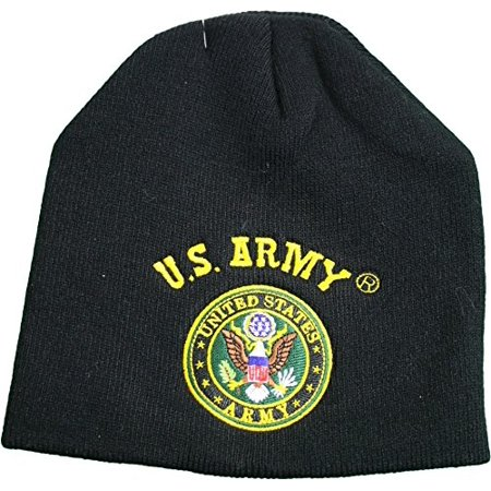 U.S. United State Army Logo Knit Cuffless Beanie Hat Black ()